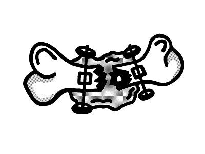 Broken Dreams blood skaters brooklyn ny halftone white black doodle sketch illustration cartoon bone deck trucks wheels dreams broken skater skateboard skateboarding skateboarder