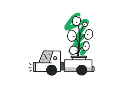 Pilea Express pilea peperomioides green plant illustration planter pot urban vehicle orgnaic texture pattern halftone brooklyn ny brush rough doodle pilea plant delivery deliver truck
