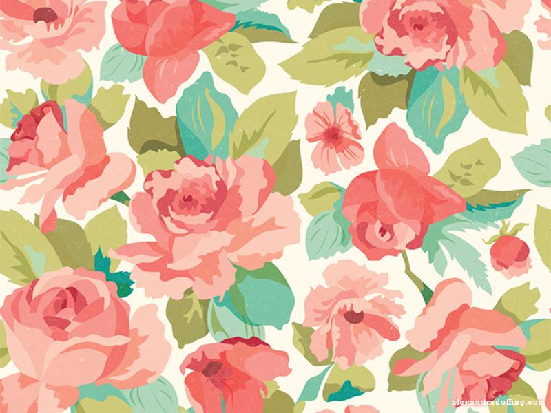 Red Roses (Tile) by Alexandra Doffing on Dribbble