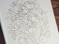 Peonies Coloring Book WIP