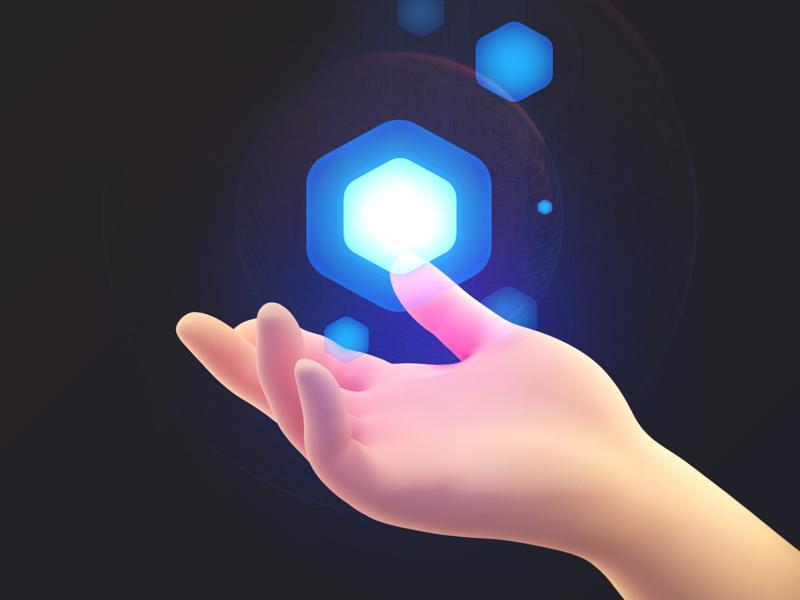 Magic ⬢ character human hand hex magic ui8 branding illustration