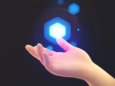 Magic ⬢ character human hand hex magic ui8 branding illustration