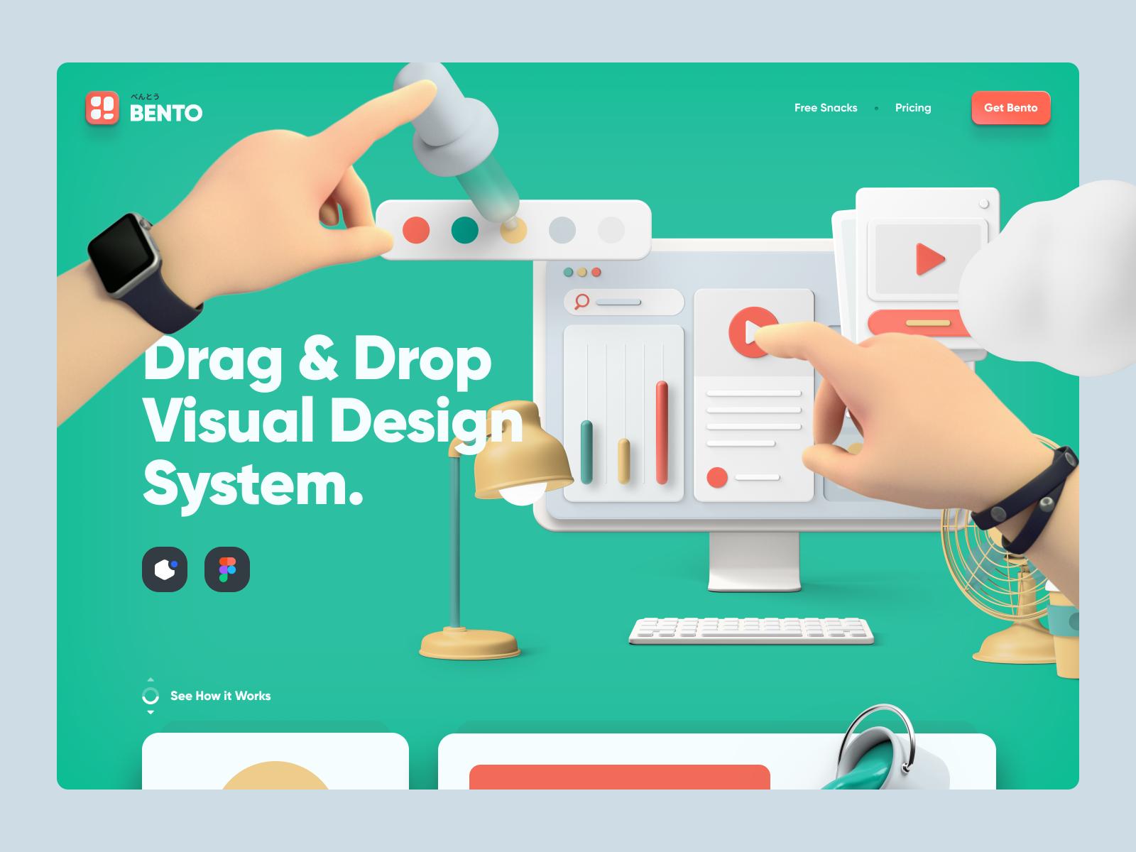 Bento product design website design landing website ui8 illustrations uidesign figma ux ui ios macos webapp visual design
