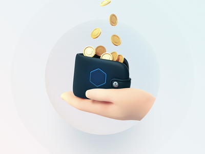 Wallet ⬢ payments money gold coin wallet ui8 c4d illustration 3d