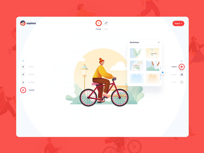 Sapiens: Free Character Builder App figma sketch freebies ux ui8 uiux ui react svg vector illustration