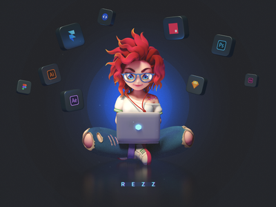REZZ futuristic blue red illustration octane c4d ui8 character design 3d