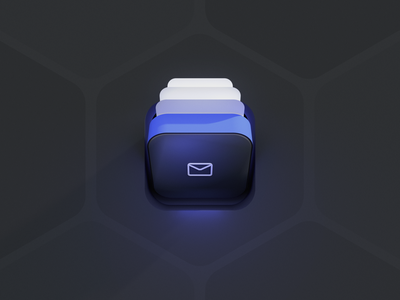 Inbox neumorphic skeumorphic glow blue ui8 c4d illustration 3d