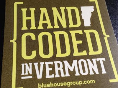 Hand Coded in Vermont sticker vt vermont