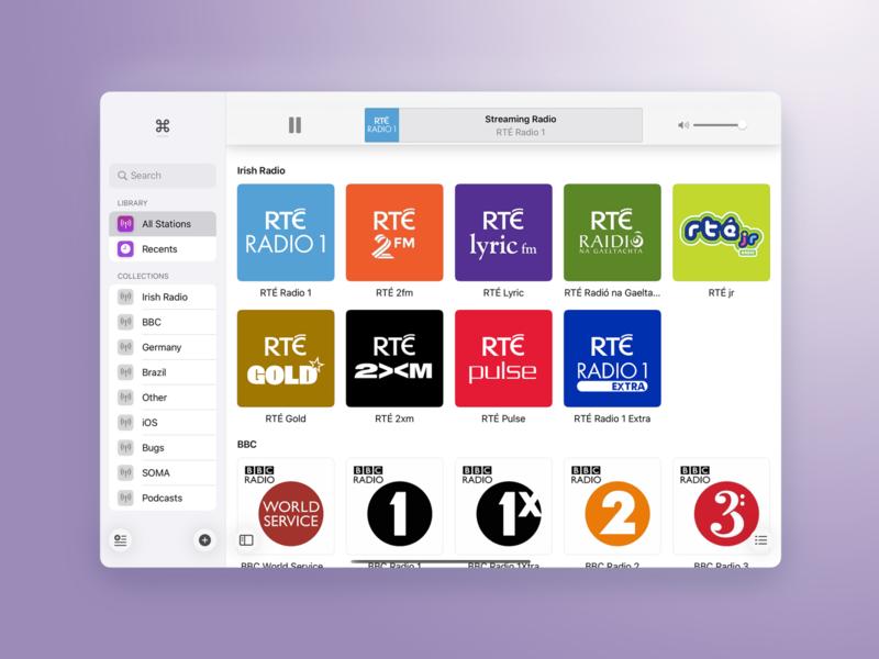 Broadcasts for iPad radio ui app ipad flat