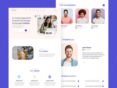 Web design - Landing page for language school branding vector ux logo ui typogaphy illustration colour web design minimal flat app