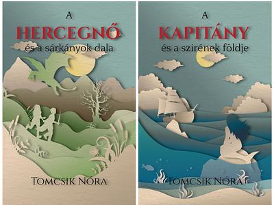 Series of book covers designe papercutting papercut ship princess dragon sea siren fantasy book covers book childrens book