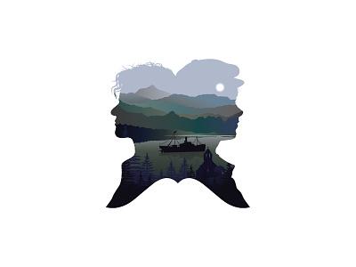 Book illustration ireland sunrise turquoise man lake church mountains landscape ship sea illustration character