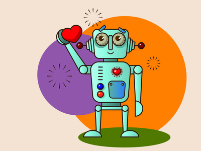 My Robot Dribbble Weekly Warm Up heart dribbble weekly warm up robot vector illustration