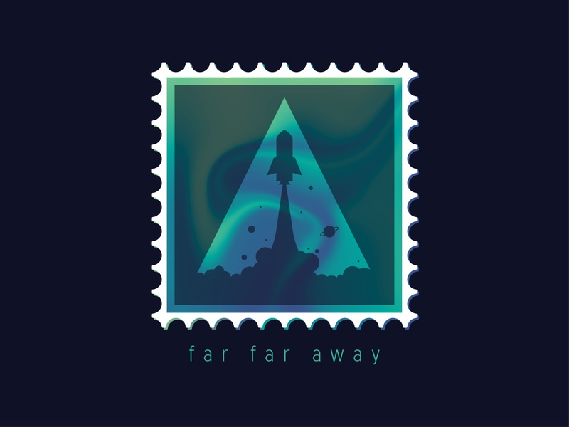 Space Rocket Stamp - Dribbble Weekly Warm-Up