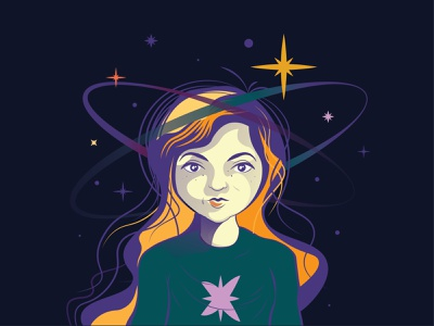 Self-Portrait space planets long hair galaxy stars female cartooning characterdesign person character i am self portrait self-portrait