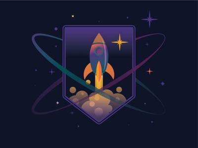 Mission Patch For A Spaceflight -Weekly Warm Up mission patch spaceflight rocket planet stars spaceship space galaxy dribbble weekly warm-up weeklywarmup