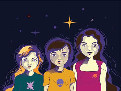 My friends cartoon characters alien ufo female cartoon illustration cartooning cartoon character cartoon characterdesign characters girls stars best friends girlfriends friends planet character galaxy