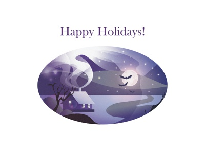 Happy Holidays Greeting Card - Dribble Weekly Warm-Up smoke bat night moon snow greetingcard winter house landscape stars illustration dribbble weekly warm-up weeklywarmup