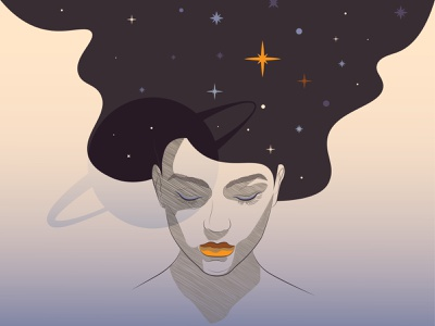 My Mind Is Universe hair mind univers girl female cartooning illustration space planet stars