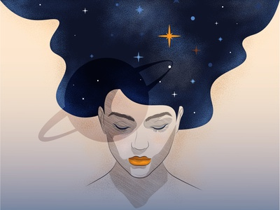 My Mind Is Universe long hair hair character characterdesign female girl planet space cartooning galaxy stars