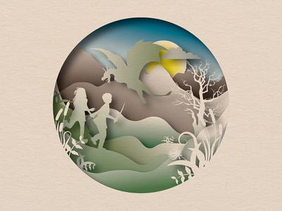 Fantasy Landscape plants paper paper art tree sun moon papercut circle mountains illustraion kids sky dragon landscape