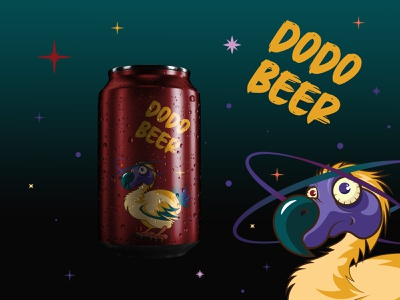 DODO BEER - Beverage Design beverage design beverage can beer mauritius bird dodobird dodo planet dribbble weekly warm-up weeklywarmup stars illustration character cartooning space design galaxy