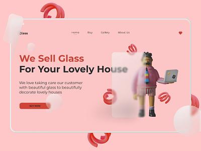 Glass - Hero Section Exploration 3d header design landing page landingpage header glassmorphism web website figma ui illustration design