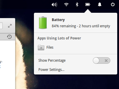 Battery Indicator popover indicator menu power icon battery