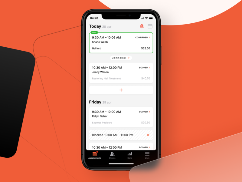 Personal schedule screen | Visual exploration application white orange task todo planning schedule appointment home dashboard ios clean app ux ui trendy calendar agenda