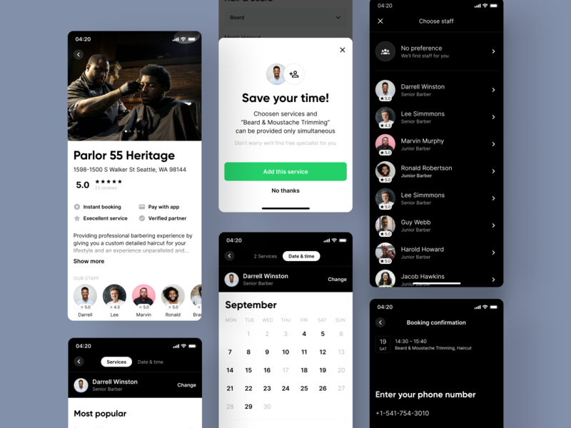 Platform for Beauty salons UI application datepicker info marketplace booking black platform beauty dark clean trendy ios app design ux uiux ui app