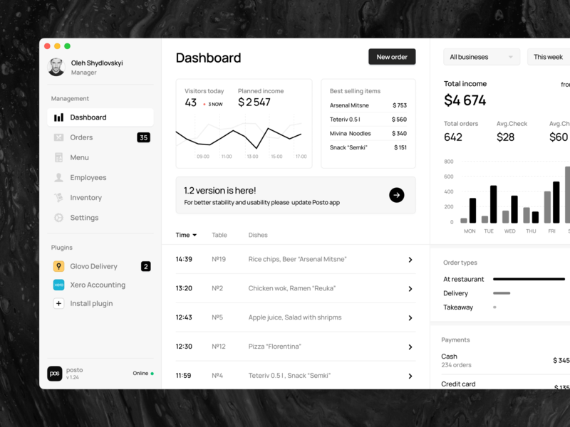 Posto | Restaurant management system osx macos material webdesign application white ui ux stats chart black  white black clean trendy neumorphic app mac dashboad crm