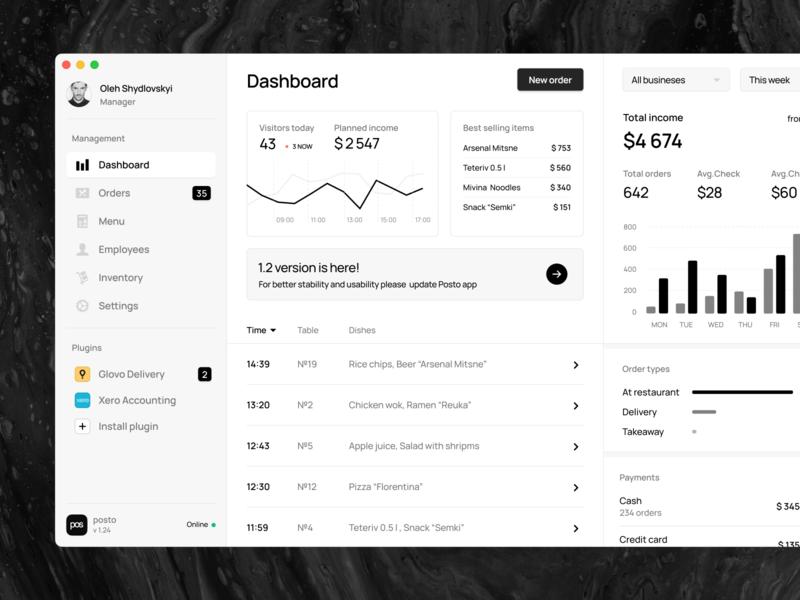 Posto | Restaurant management system osx macos material webdesign application white ui ux stats chart black  white black clean trendy neumorphic app mac dashboad crm
