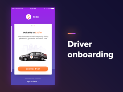 Taxi app - Driver onboarding car card onboarding purple orange app ios taxi