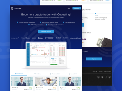 💵 covesting.io - promo landing page blue header cryptocurrency promo trader landing crypto