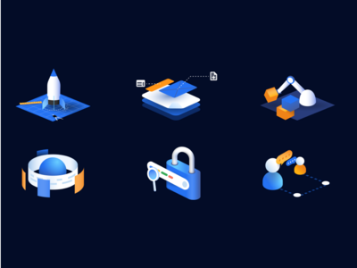 Temposweb - Illustration set 1 gradients dark blue isometric icons illustration isometric illustration isometric seo