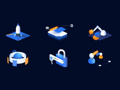 Temposweb - Illustration set 1 gradients dark blue isometric icons illustration isometric illustration isometric seo
