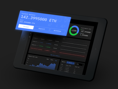 Ethereum investment service - Dashboard stats crypto currency dark dashboard crypto