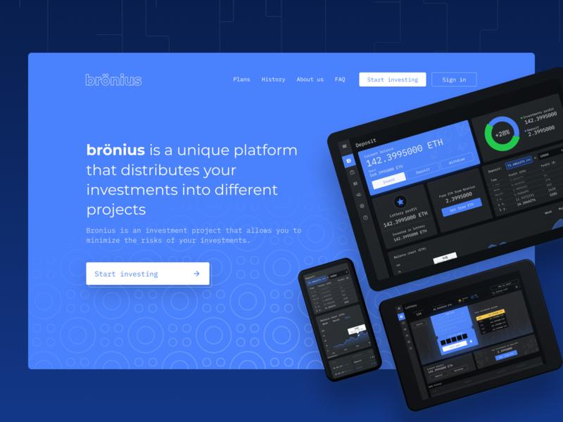 Bronius - hero slide process hero blue finance cryptocurrency crypto landing