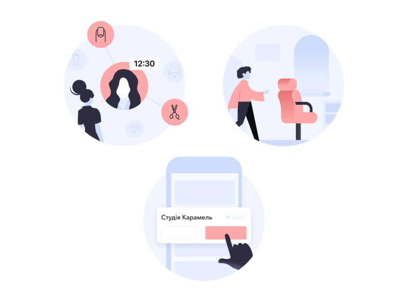 Onboarding illustration set salon uiux ux ui welcome walkthrough onboarding ui onboarding screens guide wellness barber beauty salon illustration illustrations onboarding illustration onboarding