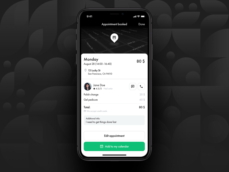 Beauty booking platform | Appointment info trendy ux beauty black and white clean figma app design appointment checkout booking success dark theme app ui