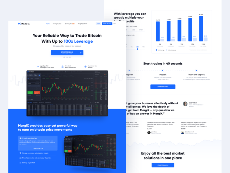 Margix | 💰 Bitcoin Trade Platform Homepage blue website design cryptocurrency crypto homepage hero chart typography landing page website platform landing clean bitcoin finance
