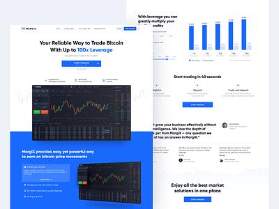 Margix | 💰 Bitcoin Trade Platform Homepage blue website design cryptocurrency crypto homepage hero chart typography landing page website platform landing clean bitcoin finance