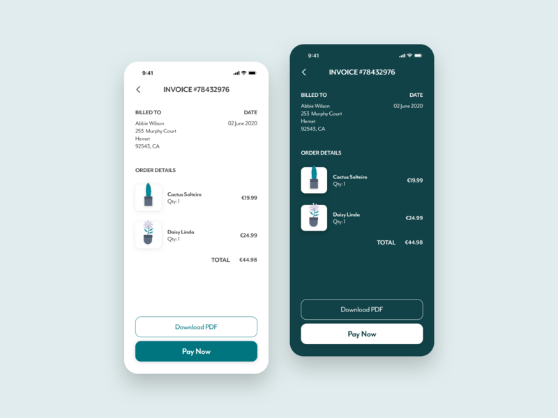 Daily UI 046 - Invoice daily ui challange appdesign app invoice daily ui 046 ux minimalistic app design daily ui challenge design ui ui design daily ui dailyui dailyuichallenge