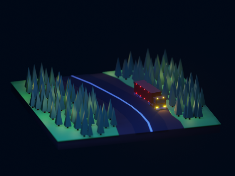 Night road in the forest low poly road night forest truck illustration render isometric art lowpoly blender 3d