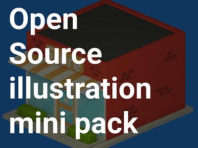 NS illustration pack freebie free open source render design illustration isometric lowpoly blender 3d