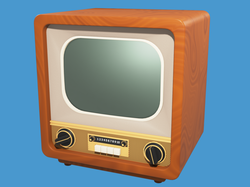 Stylized old TV tv retro old cartoon cartoonish stylization stylized illustration render b3d art blender 3d