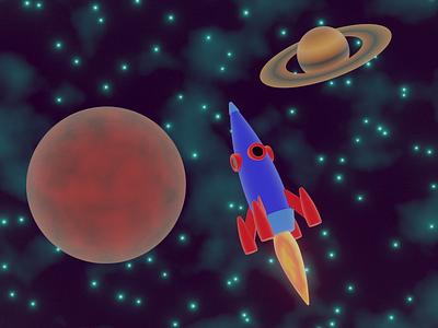 Rocket in space stylized stylization space rocket illustration 3d art render b3d art blender 3d