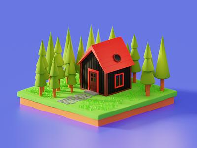 Random house, improved render house building illustration render isometric b3d art blender 3d