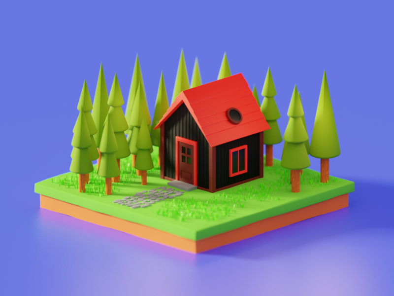 Random house, improved render house building illustration render isometric b3d art blender 3d