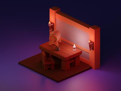 Tavern table cartoon stylization stylized table tavern illustration render isometric b3d blender 3d